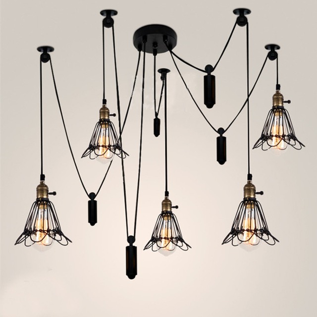 Industrial lighting vintage pendant lamp bar hanging lights living industrial lighting vintage pendant lamp bar hanging lights living room lamp pulley light fixture pendant light aloadofball Image collections