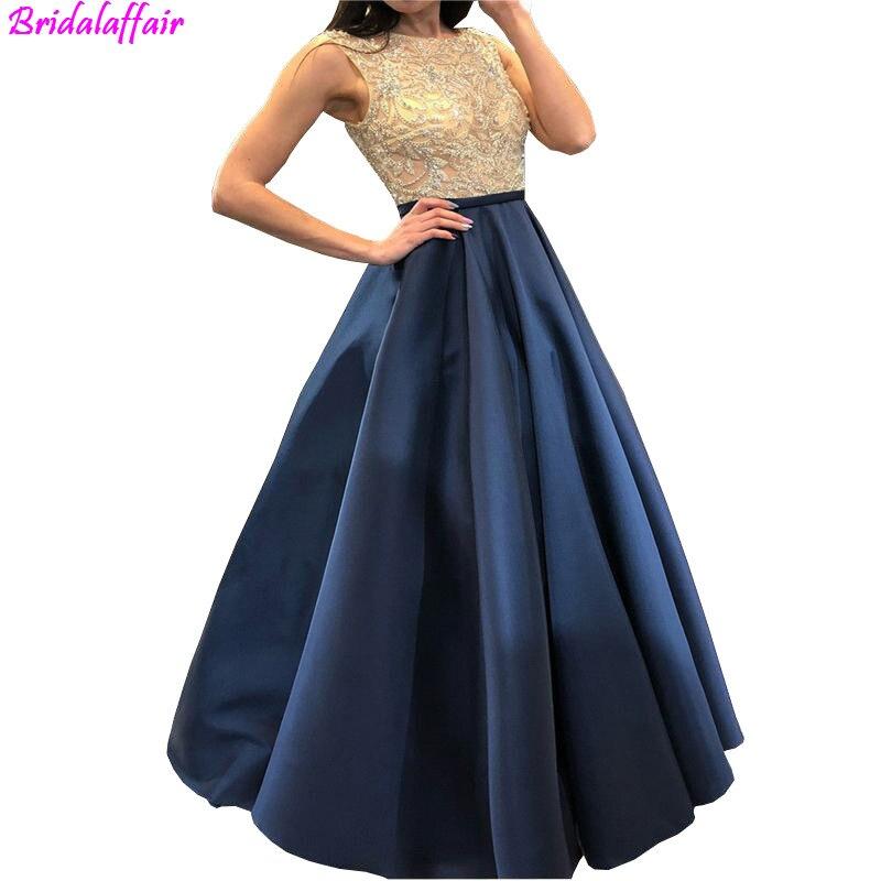 2019 Navy blue Satin Long   Prom     Dresses   Top beads Elegant Evening   Dresses   Robe De Soiree New bride   dress   vestidos de gala