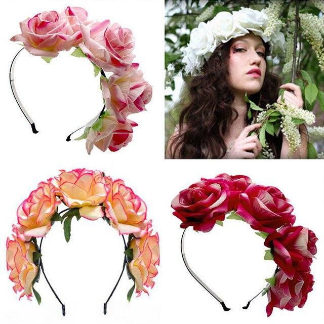 Blume Hochzeit Braut Kranz Haar Kopfschmuck Frauen Blumen Haar Band