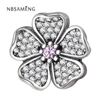 Authentic 100% 925 Sterling Silver White Flower Pink Crystal Bead Charms Fit Pandora Bracelets & Bangles Luxury DIY Jewelry