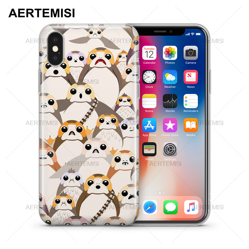 Aertemisi Phone Cases Star Wars The Last Jedi Porgs Transparent Clear Soft