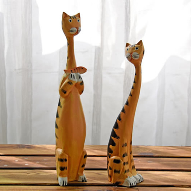 2PC/SET Wooden Cat Statue And Sculpture Creative Statues For Decoration Home Decoration Accessories Modern And Industrial Decor