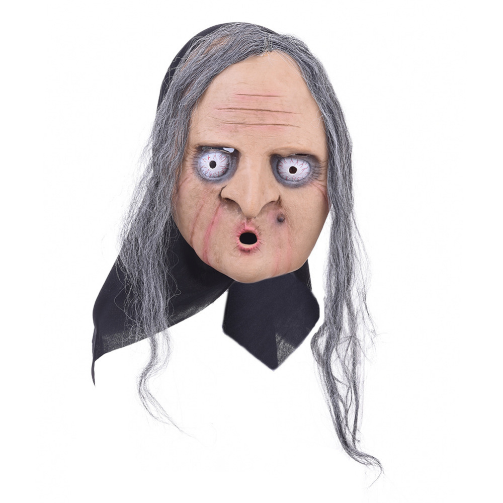 Scary Mask Halloween Horror Grimace Witch Mask Full Face ...