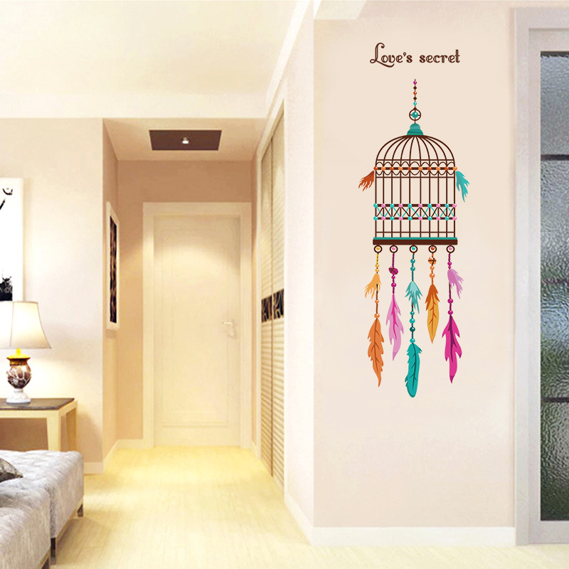 3D painting wallpaper color feather bird cage creative art wall ...