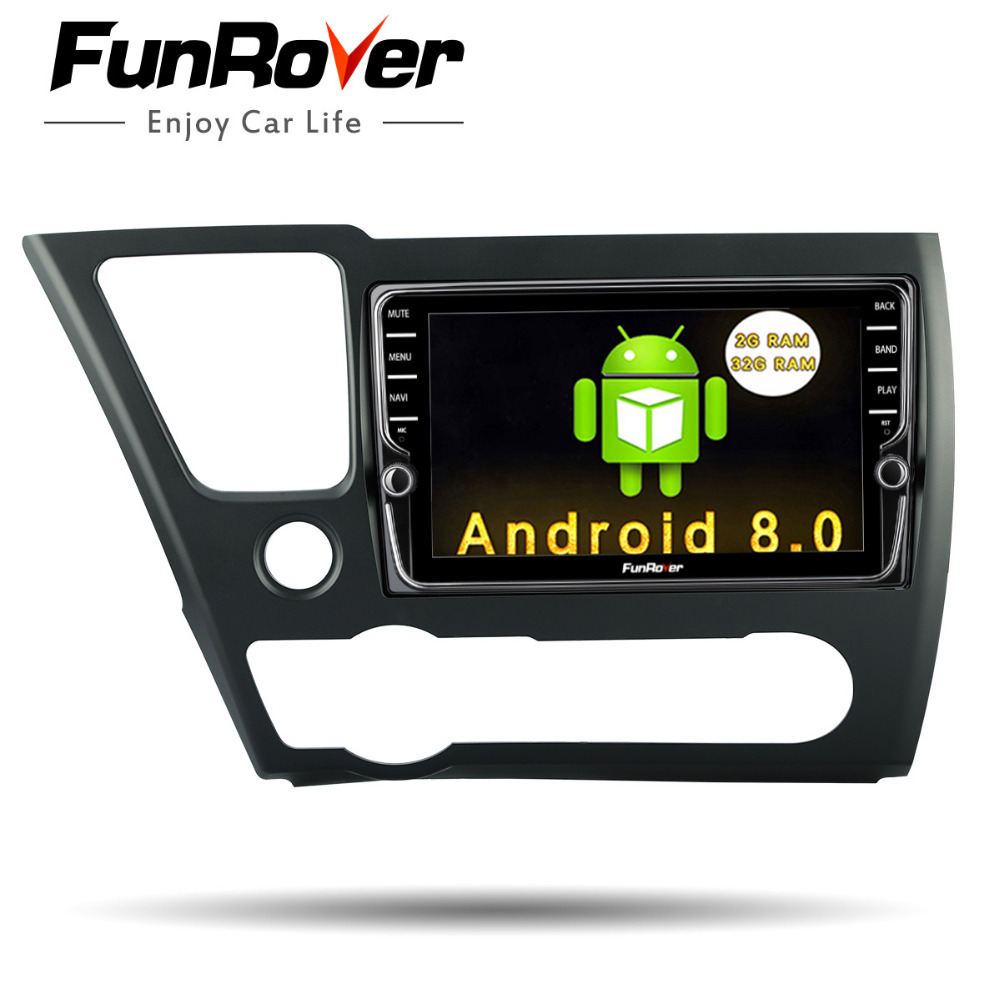 "Funrover IPS 8""Android 8.0 Car DVD radio stereo multimedia head unit for Honda Civic 2014 2015 EX/LX/DX  Navigation Audio stereo"
