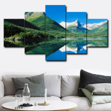 5 Panel Blue Sky Green Mountain Abstract Creative Wall Art Canvas Painting Posters and Prints Home Living Room Bedroom No Frame