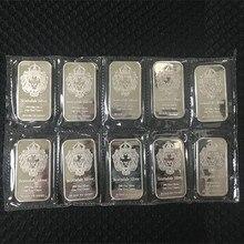 5 шт. немагнитных серебряных слиток золота 1 унций посеребренный значок слитка 50 мм x 28 мм вакуумная упаковка 5 шт. в ряд баров