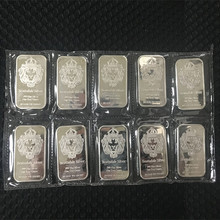 5 шт. немагнитных серебряных слитков в виде слитков, 1 унции, посеребренный слиток, 50 мм x 28 мм, вакуумная упаковка, 5 шт. в ряд