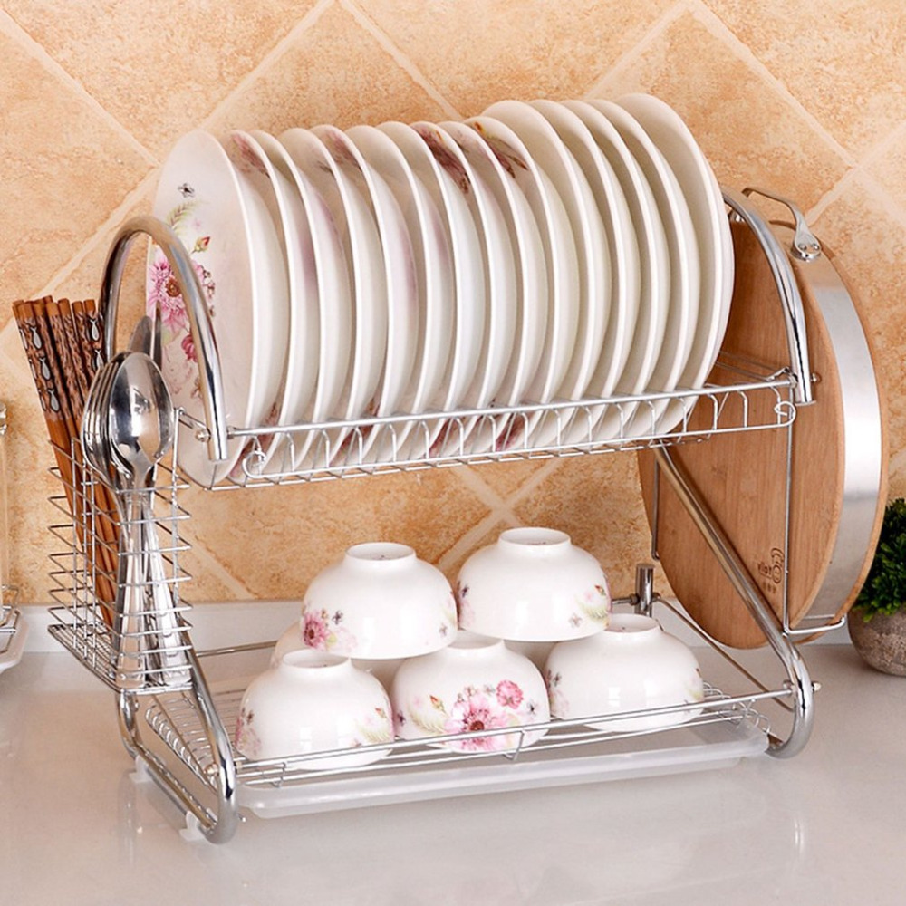 NAI YUE Double Layers Design Home Kitchen Stainless Steel Cutlery Dish Rack Drainer Dryer Drip Tray Drying Rack Drainer Dryer