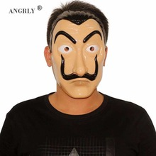 "ANGRLY Καυτή μάσκα προσώπου ""La Casa de Papel"" ""Salvador Dali"" Cosplay μάσκα μάσκας αποκριών ενηλίκων ρεαλιστική ρεαλιστική μάσκα κόμματος"