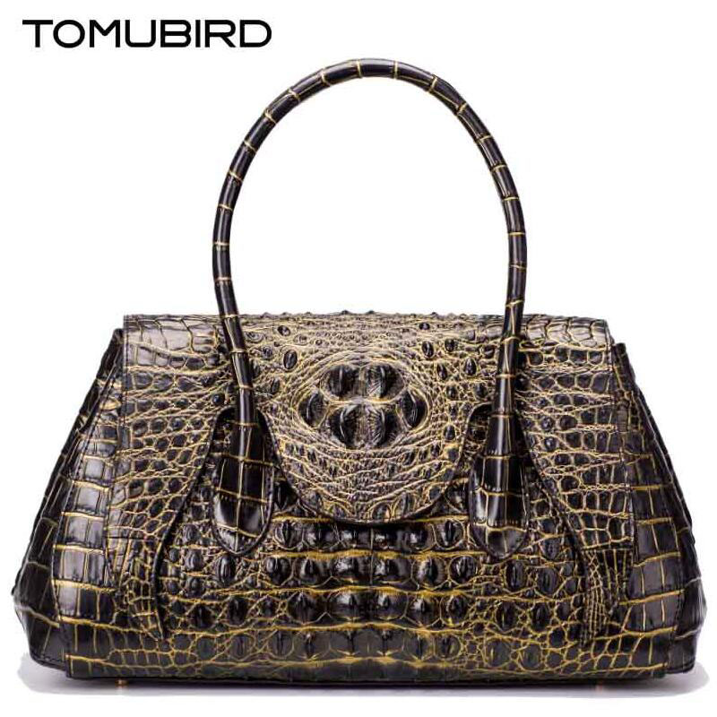 TOMUBIRD new superior genuine leather handbags  brand women bag Embossed Crocodile  Designer tote bag Leather shoulder bag tomubird new original hand embossed superior leather designer bag famous brand women bags genuine leather handbags shoulder