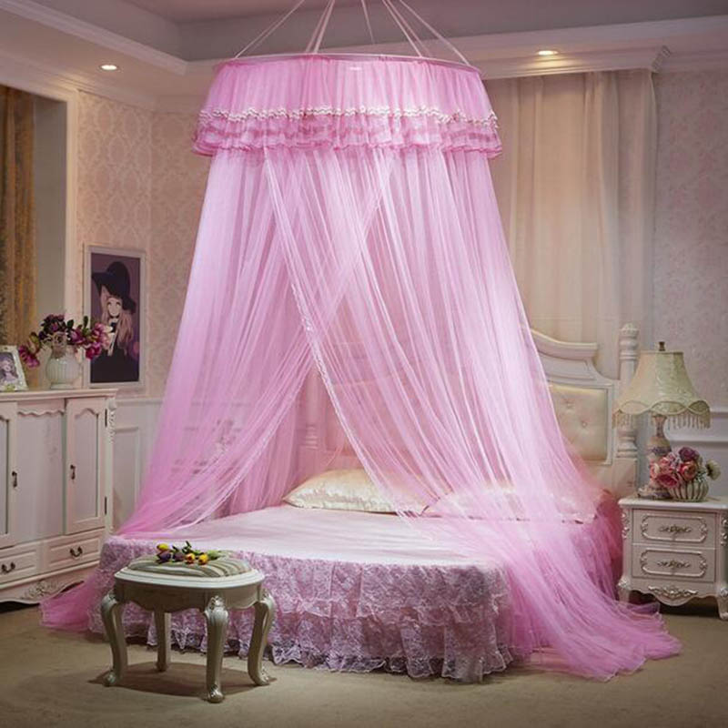 Romantic Palace Mosquito Nets For Adults Bed Curtain Canopy Universal klamboe Circular Hung