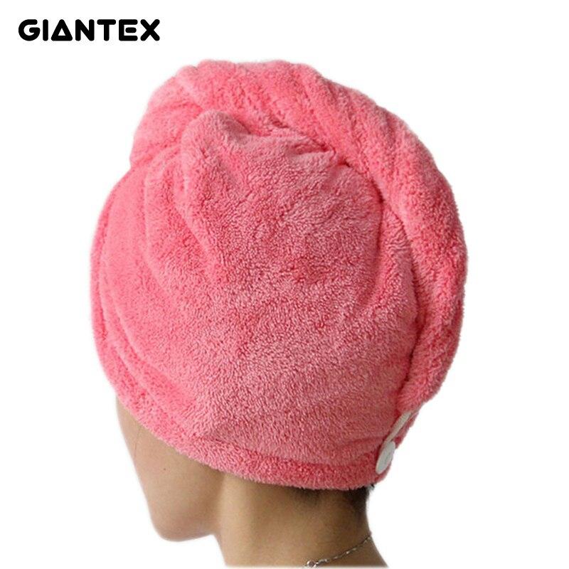 GIANTEX Для женщин Ванная комната супер впитывающие быстросохнущие микрофибры Ванна Полотенца волосы сухие Кепки салон Полотенца 25x65 см u0755