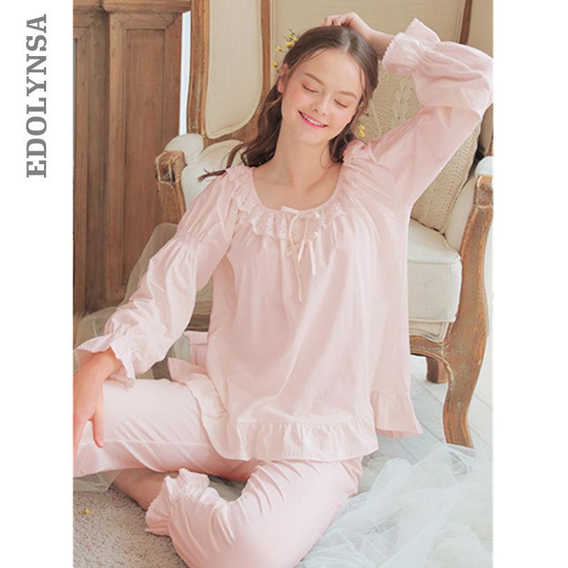 Ladies Pajamas Sets For Women Fashion White Lace Cotton Pijama Autumn  Nightwear Plus Size Lingerie Two 1eb523a69