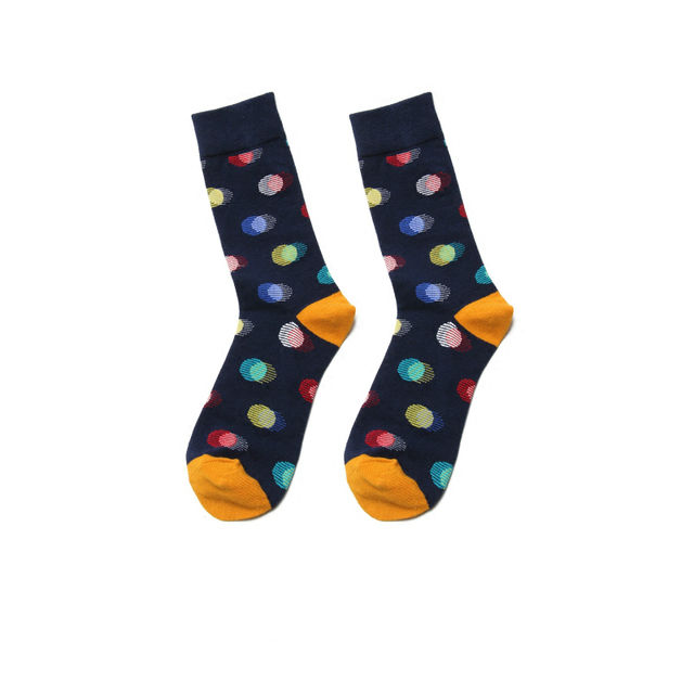 PEONFLY Fashion Casual Printing Wave Point Stripes Pattern Comfortable Cotton Sock Men Colorful Funny Warm Happy Art Dress Socks