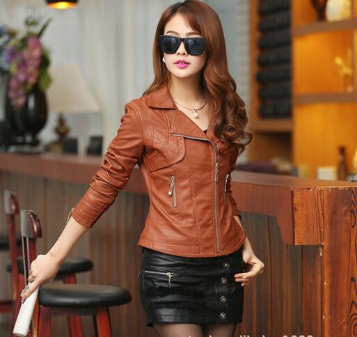 2017 women jacket   leather   fashion women   leather   jacket plus size S- 4XL Women motorcycle   leather   jackets veste simili cuir femme