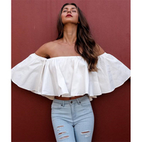 DoreenBow Strapless Slash Neck Summer Woman White Off Shoulder Ruffle Blouse Short Crop Top Casual Short