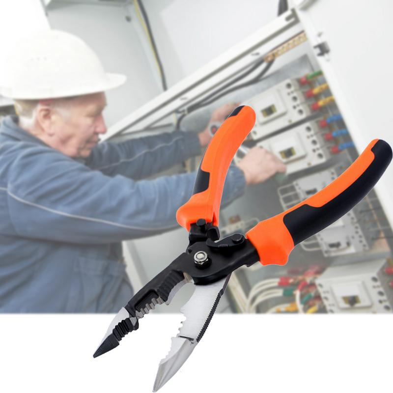 5-In-1 Electrician Pliers Wire Stripper Crimping Pliers Multi-Function Cable Wire Cutters Professional Tools Stripping Pliers free shipping multi function 5 in 1 electric needle nose pliers wire stripping cutting wire crimping pliers tools