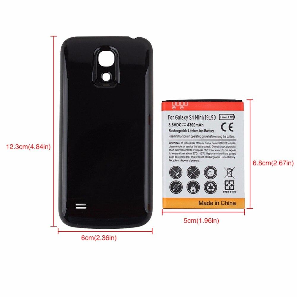 Haute Qualité 4300 mAh Remplacement Avancée De Sauvegarde Épais Batterie avec Noir Couverture Arrière Pour Samsung Galaxy S4 mini i9190 Batterie
