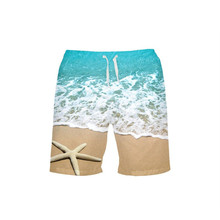 VEEVAN Men's Board Shorts Coast 3D Printing Beach Shorts Surfing Quick-dry Short