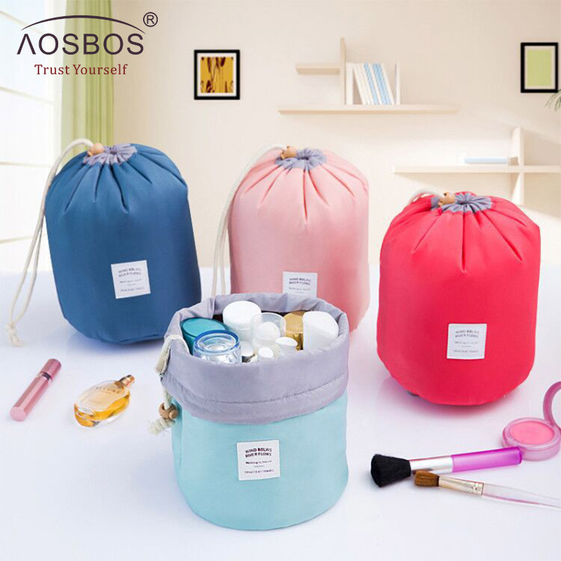 Aosbos High Quality Waterproof Travel Cosmetic Bag Nylon  Drawstring Barrel Wash Bags Large Capacity Women Cosmetic MakeUp Bag