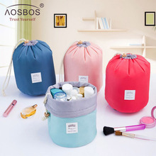 Aosbos High Quality Waterproof Travel Cosmetic Bag Nylon Drawstring Barrel Wash Bags Large