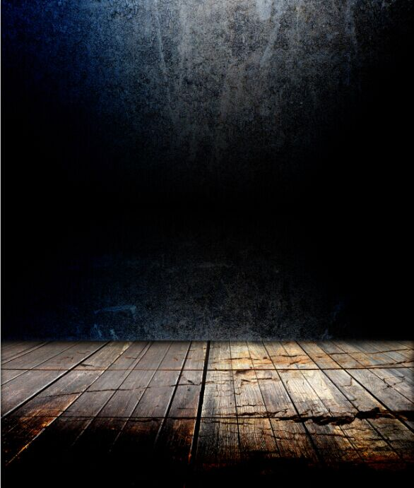 8x15FT Indoor Dark Blue Black Concrete Wall Wooden Floor