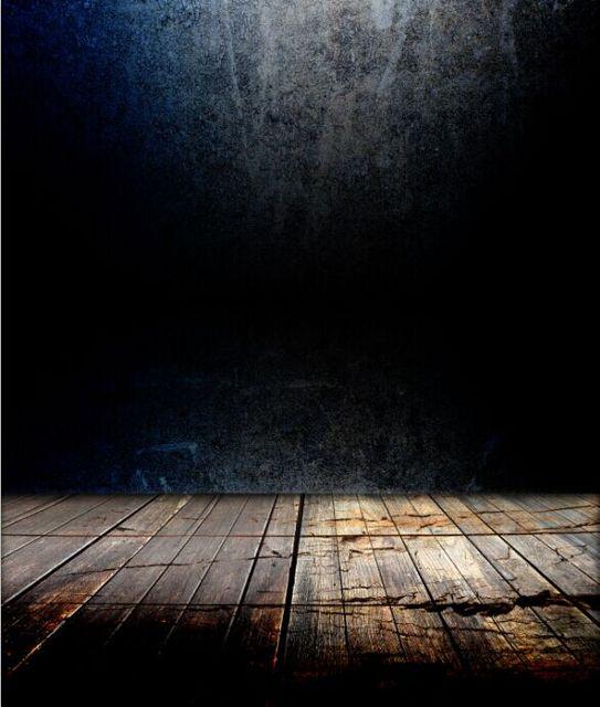 8x15FT Indoor Dark Blue Black Concrete Wall Wooden Floor Custom