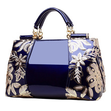 2017 Luxury Sequin Embroidery Women Bag Patent Leather Handbags Handbag Diamond Shoulder Messenger Bags Famous Brand Designer