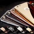 Ultra delgada de metal de aluminio espejo de oro rosa de la contraportada caja del teléfono móvil para la manzana para el iphone 4s