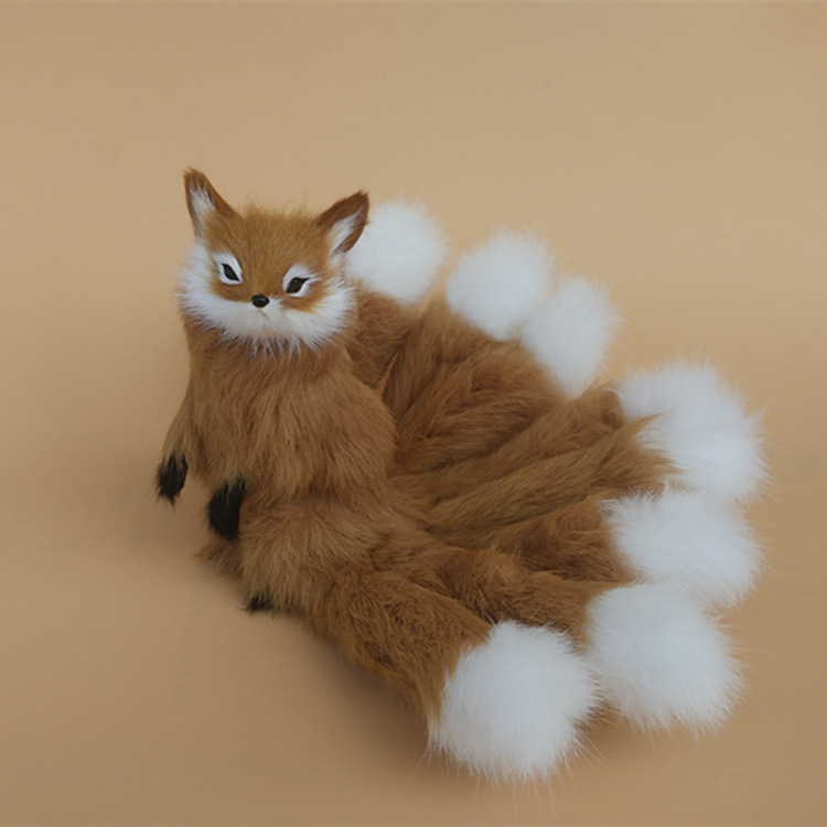 creative simulation brown fox toy resin&fur nine-tails fox doll gift about 23x16cm 1068 creative simulation nine tails fox toy polyethylene