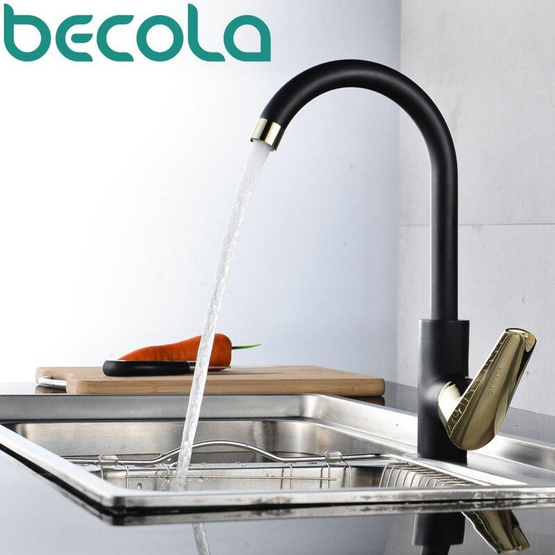 Becola Free Shipping New Design Swivel Spout Kitchen Faucet Fashion Black White Chrome Style Sink Mixer Tap B-119