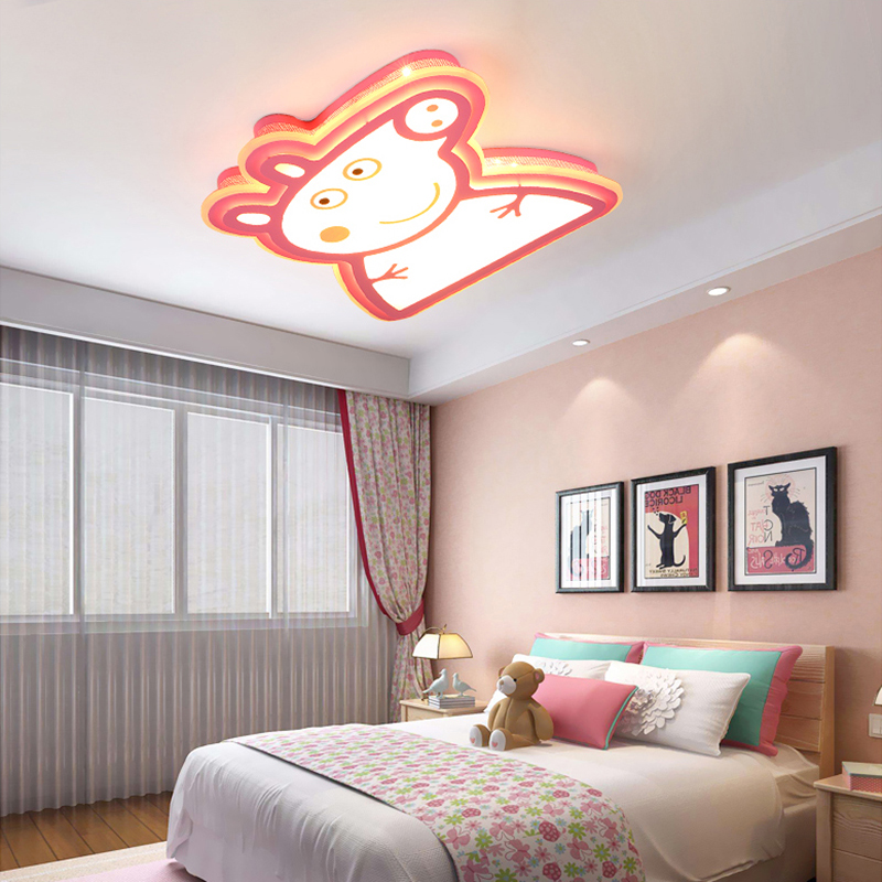 Modern Kids Room LED Ceiling Lights AC85~260V Peppa pig lampara de techo children bedroom decor lighting ceiling lamp for baby noosion modern led ceiling lamp for bedroom room black and white color with crystal plafon techo iluminacion lustre de plafond