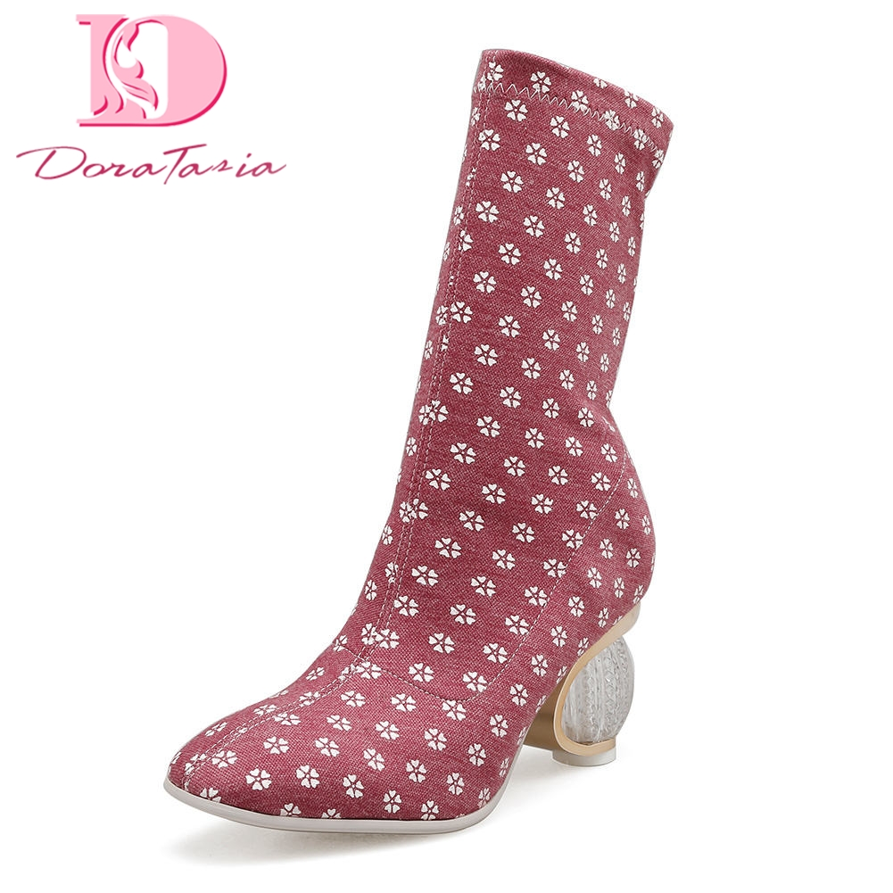 DoraTasia 2018 Brand design best quality customized big size 35-43 Woman mid-calf boots Sexy strange Heels Womens Shoes