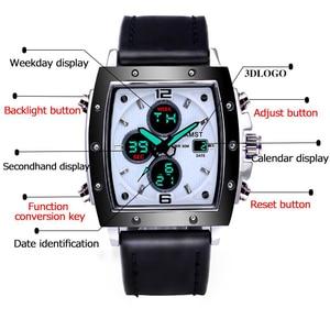 Image 4 - ファッション amst メンズ腕時計長方形 militray スポーツクォーツデュアルディスプレイ男性腕時計防水男性腕時計レロジオ masculino