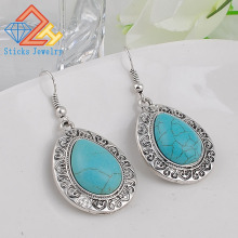 (1Pair /Lot) 100% Water-Shaped Alloy Engraved Pattern / Turquoise Retro Earrings faux turquoise cow engraved jewelry set
