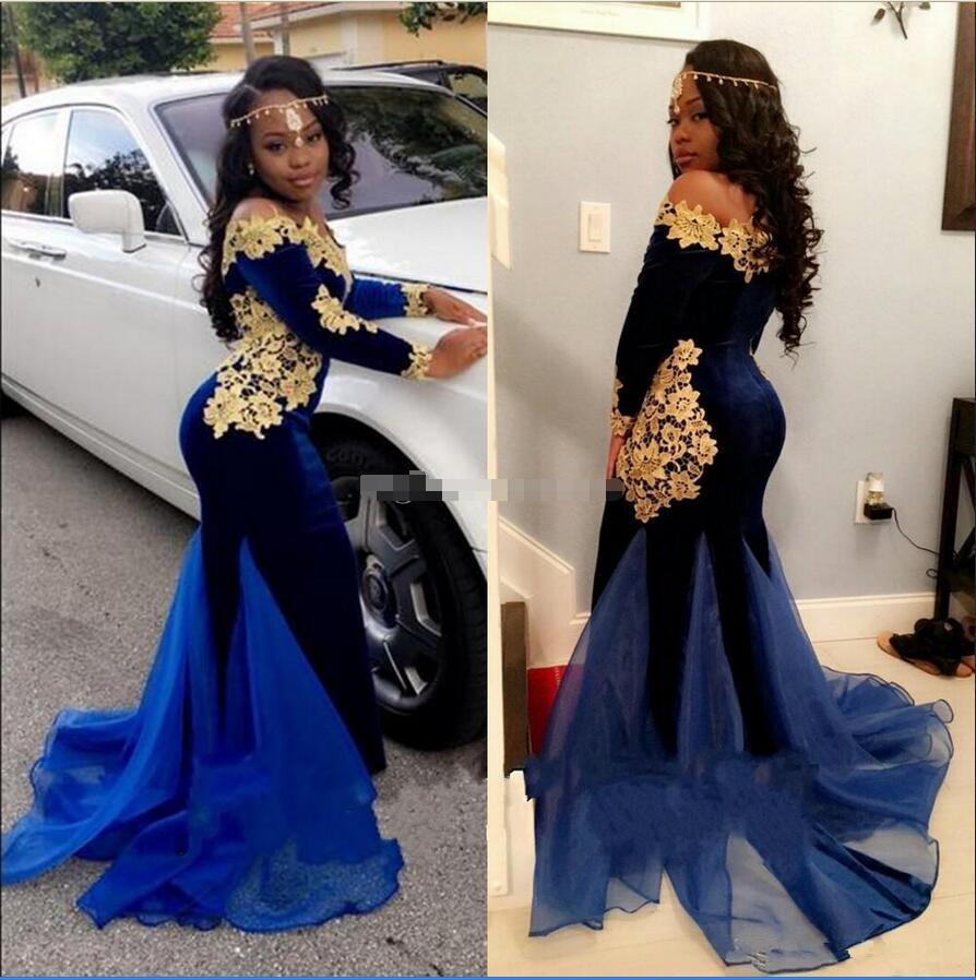 Aliexpress.com : Buy Royal Blue Velvet Gold Lace Black Girl Prom ...