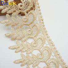 15 yards 8.5 cm Lace Trims Ribbon for Dresses Trimmings Home Textiles Applique Sewing Accessories White Brown Strip Lace Fabric