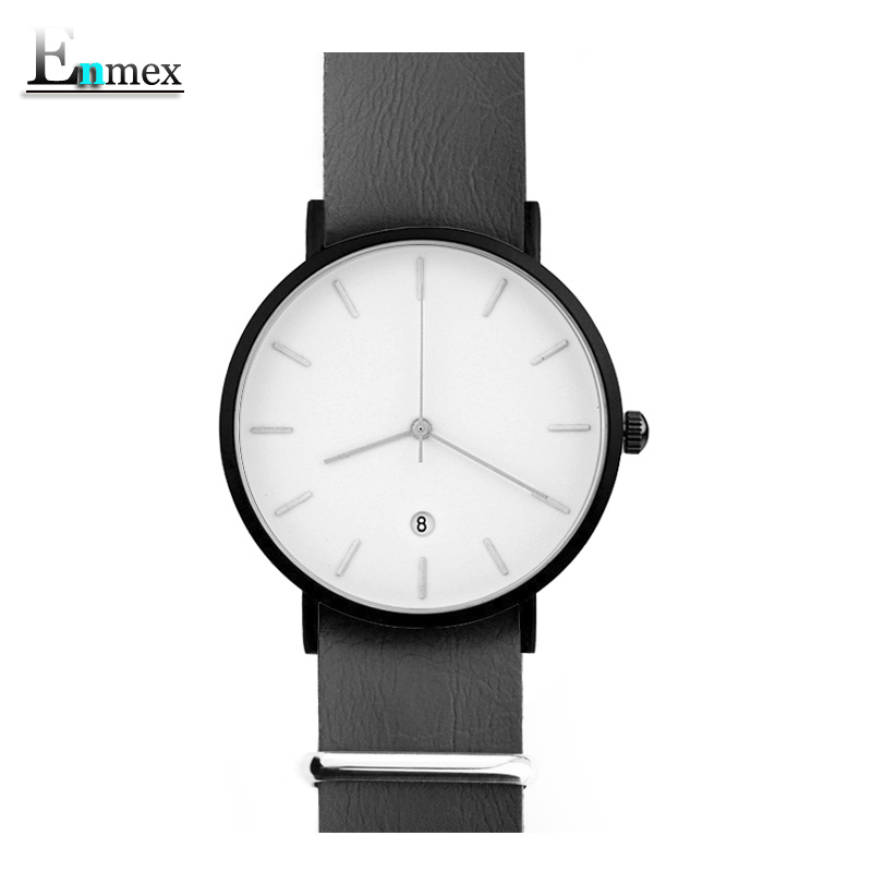 men gift Enmex brief design removable strap with calendar Ultrathin watch simple and temperament Nordic fashion quartz watches