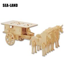 цена на 3D Children Puzzles Wood Horse Drawn Carriage DIY Jigsaw Military Style Educational Montessori Toys Kids Adult Teens Gift