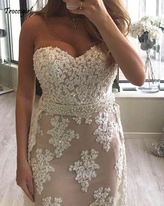 New Arrival Sweetheart Sleeveless Mermaid Lace Applique Crystal Beaded Organza Prom Dresses Long Trumpet Party Gowns For Prom in Evening Dresses from Weddings Events