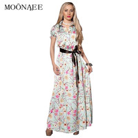 MOONAJEE 2017 Summer New Floral Printing Long Summer Dresses Women Short Sleeve Female Maxi Beach Dresses with Satin Sash