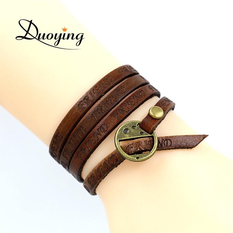 DUOYING Leather Bracelet Letter FRIEND LUCKY Multilayer Bracelet Brown Color Genuine Leather Wrap Metal Bracelet for Women Men