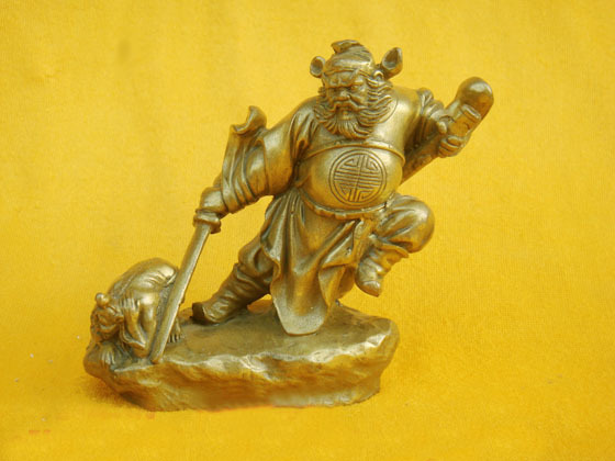 Chinese Exorcist Zhong Kui BRASS Statue Figurine 4H copper Decoration real Brass