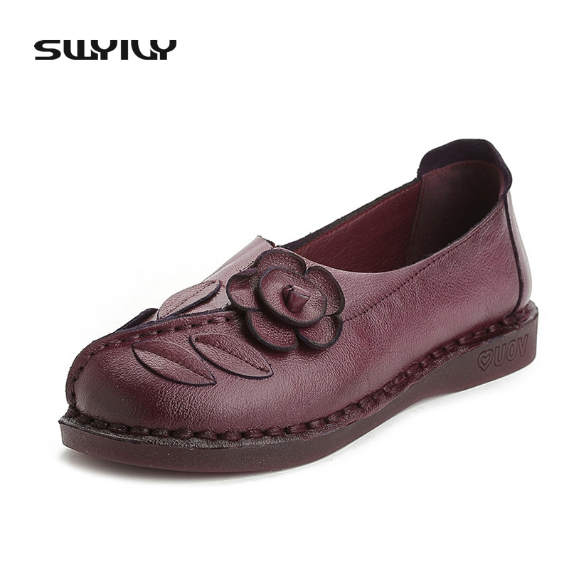 Plus Size 35-42 Cow Leather Spring & Autumn Fashion Flower Women Flat Shoes Comfortable Shallow High Quality Mother Retro Shoes 2017 fashion women shoes woman flats high quality casual comfortable pointed toe rubber women flat shoes plus size 35 42 s097
