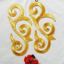 8*19 см золотая вышивка металлик нашивки золотые металлические нитки вышитые кружева сюжетные Аппликации Аксессуары Шитье