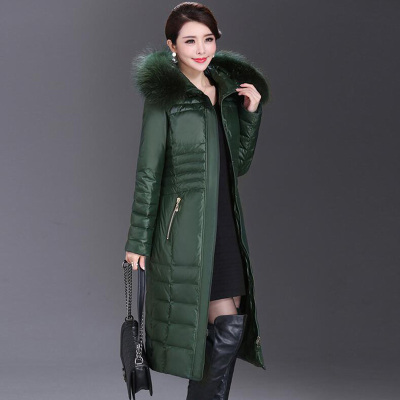 Winter Middle-aged   Down   Jacket Women 2018 Long Thicken Mother Plus Size   Down   Parka Fashion Fox fur collar White Duck   Down     Coat