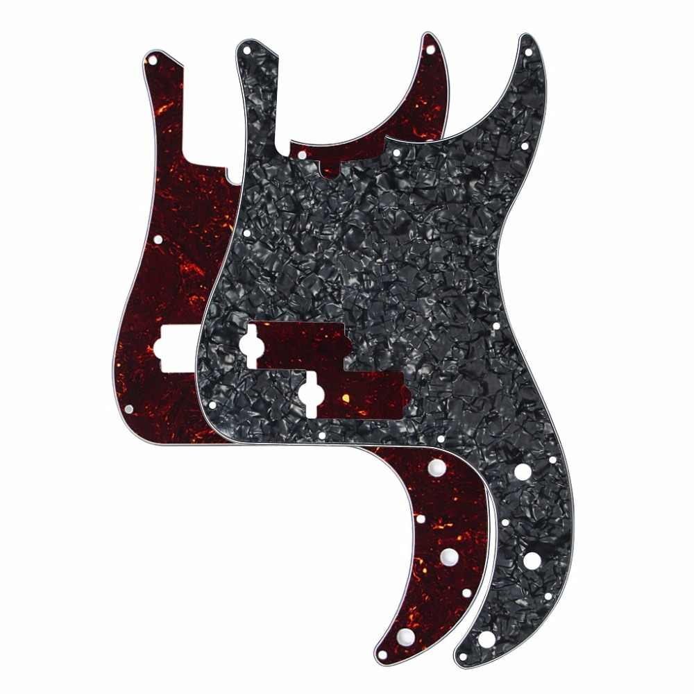 2PCS/Pack Brown Tortoise & Black Pearl Bass Pickguard Scratch Plate 13 Hole w/ Truss Rod Notch Hole