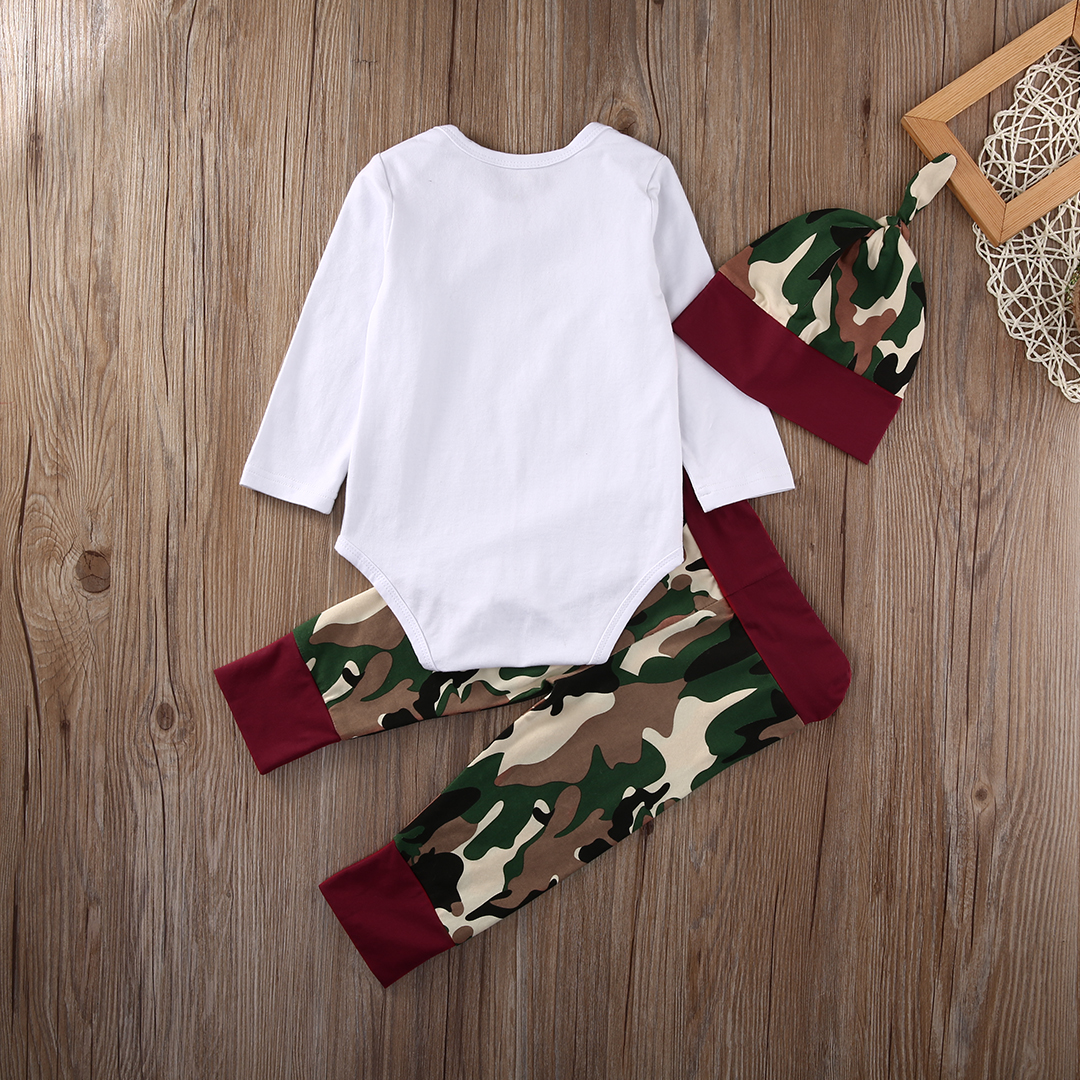 Newest Casual Little Man Camo Infant Baby Boys Girls Tops Romper Pants Hat Harem Outfits
