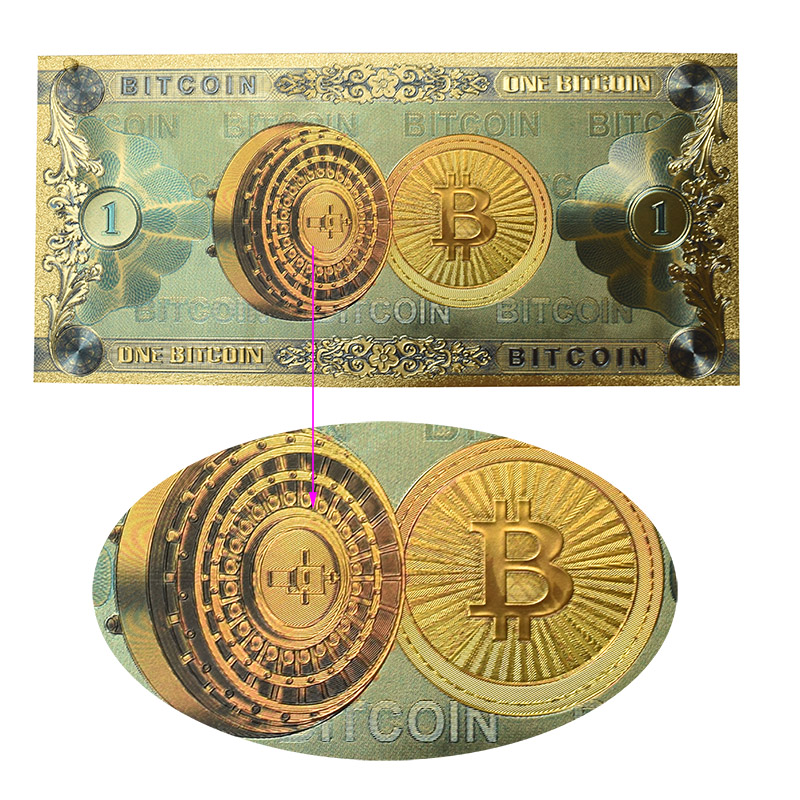 Hot One Bitcoin Banknote Gold Foil BTC Bitcoin coin Plastic cards For Collection-1